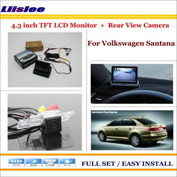 """Liislee For VW Volkswagen Santana 1996~2005 Back UP Reverse Camera + 4.3"""" Color LCD Monitor = 2 in 1 Rearview Parking System"""