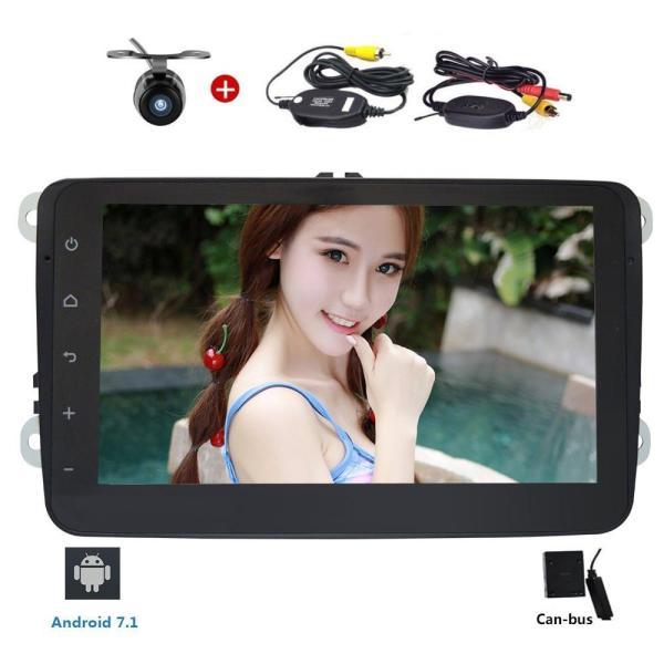 Free Wireless Rear Camera 2 Din 8 Inch Car Stereo Radio GPS Nav WIFI FM/AM In Dash Bluetooth Head unit for VW Passat Golf Jetta