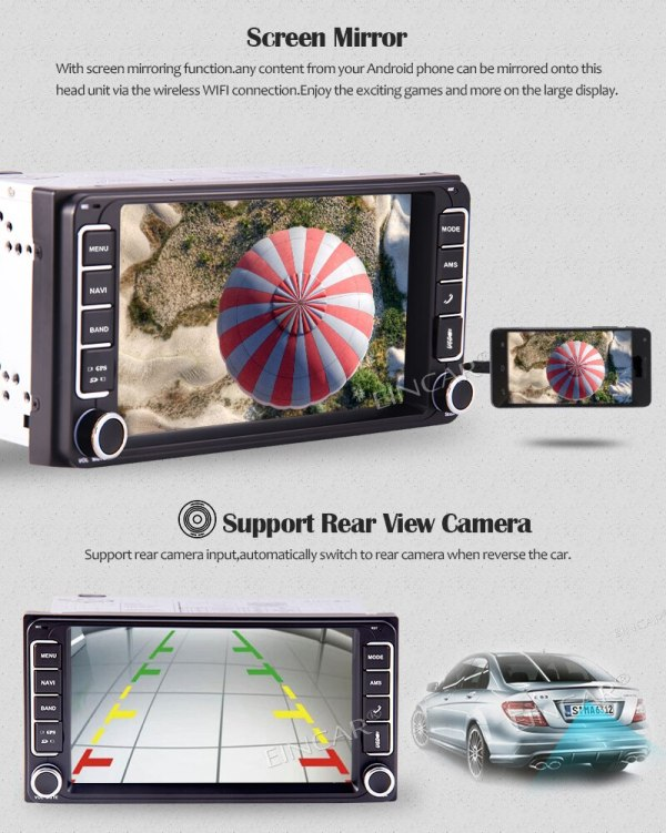 Toyota In Dash Car Stereo Bluetooth FM AM Radio AUX-in Camera Double DIN In Dash Car Stereo MP5 Audio 1080P Video Player for Toyota Support GPS Bluetooth FM AM Radio TF USB SD AUX-in Camera