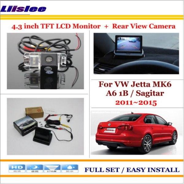 "Liislee For Volkswagen VW Jetta MK6 A6 1B / Sagitar 2011~2015 - Car Reverse Rear Camera + 4.3"" Monitor = 2 in 1 Parking System"