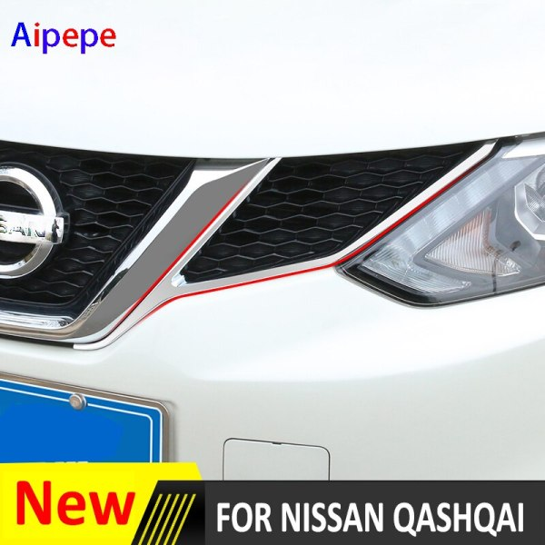 QASHQAI 2014-2016 CHROME FRONT MESH GRILLE LAMP COVER TRIM