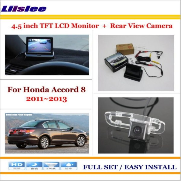 """Liislee For Honda For Accord 8 2011~2013 In Car 4.3"""" Color LCD Monitor + Car Rear Back Up Camera = 2 in 1 Park Parking System"""