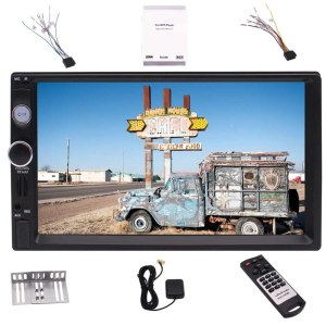 GPS Navigation/Bluetooth/Mirror link/Rear Camera Input/FM/TF/ USB/AUX-in + Remote Control Double Din Car Stereo,7 Inch Touch