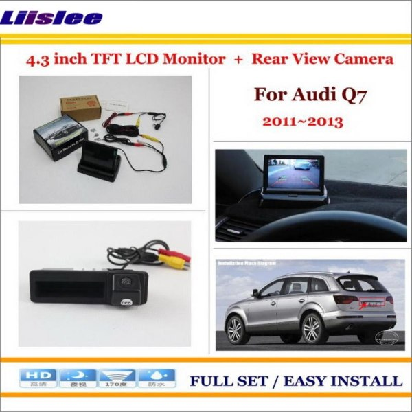 """Liislee For Audi Q7 2011 2012 2013 Auto Back UP Reverse Camera + 4.3"""" Color LCD Monitor = 2 in 1 Rearview Parking System"""