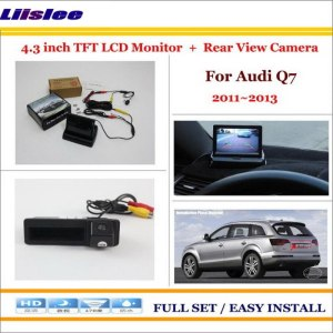"Liislee For Audi Q7 2011 2012 2013 Auto Back UP Reverse Camera + 4.3"" Color LCD Monitor = 2 in 1 Rearview Parking System"