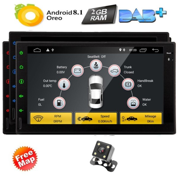 7 inch Android 8.1 Car Stereo 2 Din in Dash GPS Navigation Radio Bluetooth Head Unit Support Phone Mirroring CAM-IN OBD2 4G/3G