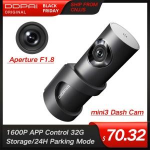 DDPai Mini3 1600P Full HD Dash Cam WiFi 32G Car DVR with WDR G-sensor 24H Park Loop Recording Drive Recorder