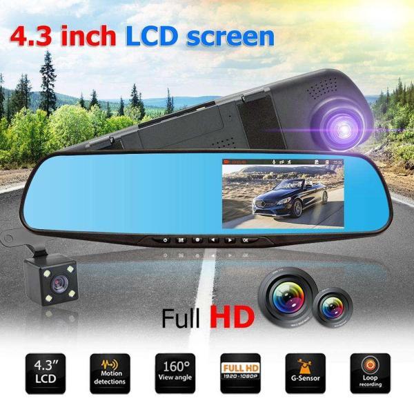 4.3 inch TFT Dual Len HD Car SUV DVR Video Dash Camera 1080P Waterproof G-Sensor Video Tachograph Cam Driving Recorder