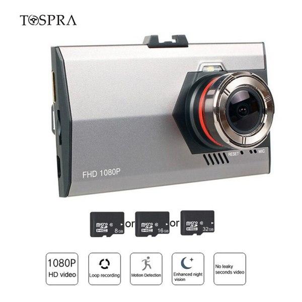 TOSPRA 1PCs Car DVR Camera Wide Angle Camera Recorder Video Dash Cam 3.0 Inch Full HD 1080P Rear Mirror View 120/170 Degree