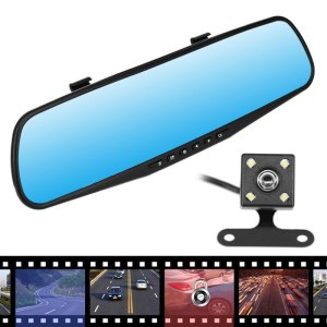 "4.3"" HD 1080P Dual Lens Rear View Mirror Car DVR Cam Recorder Safety Camera Set Dash Camera"