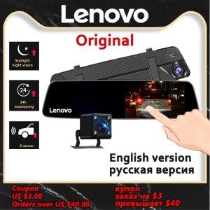 Original Lenovo Dash Cam Dual Lens Rearview Mirror Camera Night Vision Dashcam Video Recorder License Plate Settings IPS Car DVR
