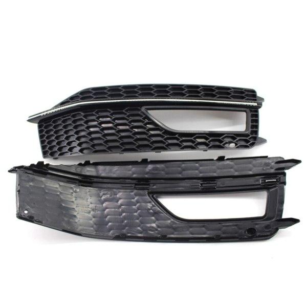 1PAIR L & R Front Bumper Lower Fog Light Lamp Grille Cover Replacements Plastics For Audi A4 B8 S4 S-line A4L B9 S-Line13-16