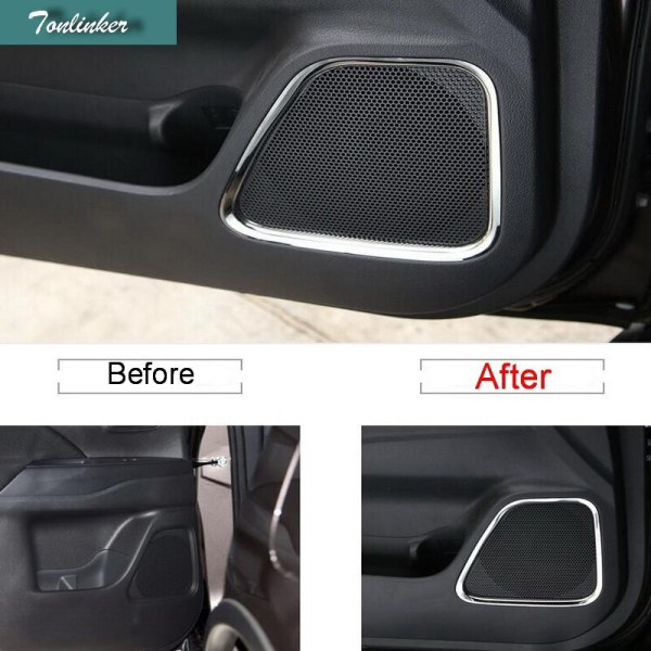Tonliker Interior Door Speaker Cover Case stickers for Mitsubishi Outlander 2013-19 Car Styling 4 Pcs Stainless Steel Covers
