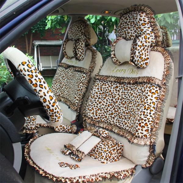 18pcs Leopard Print Lace Car Seat Covers for Women Universal Short Plush Winter Auto Seat Covers Sets Interior Accessories