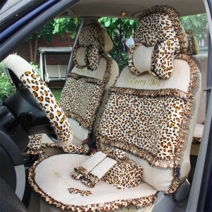 18pcs Leopard Print Lace Car Seat Covers for Women Universal Short Plush Winter Auto Seat Covers Sets Interior Accessories