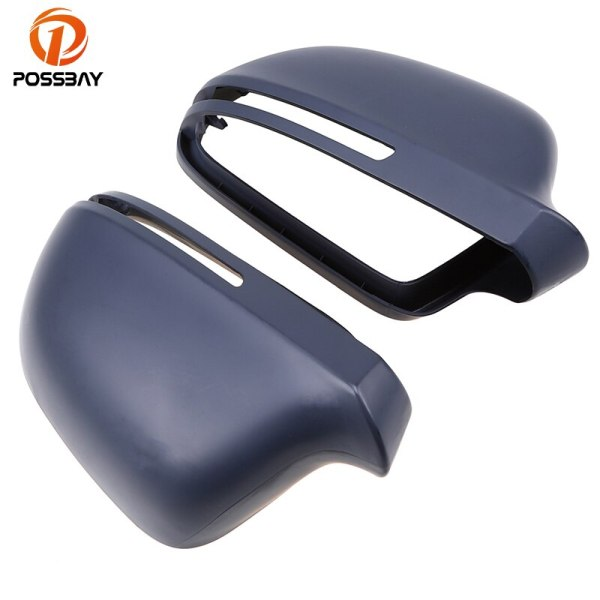 POSSBAY Car Door Side Wing Mirror Grey Cover Rear View Cap Accessories for Audi A4/S4/Avant/quattro 2008-2013 Auto Replacement