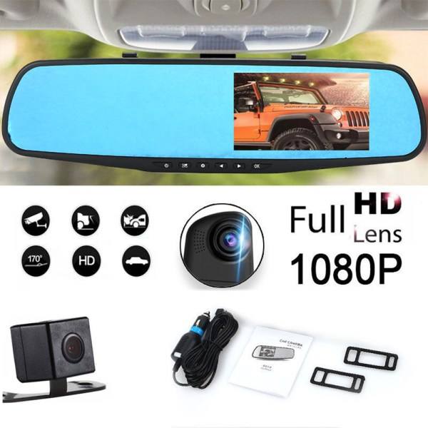 1080P HD Car Dvr Camera Rearview Mirror Digital Video Recorder Auto Camcorder Dash Cam FHD 1080P dual len Registrator car parts