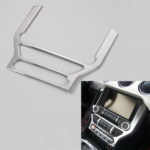 BBQ@FUKA 1Pc Car ABS Console Dashboard Panel Frame GPS Navigation Cover Trim Sticker Fit For Ford Mustang 2015+ Car accessories