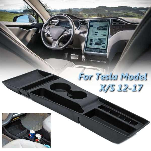 Car Armrest Box Storage Center Console Organizer Container Holder Box For Tesla Model X / S 2012 2013 2014 2015 2016 2017