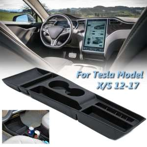 Car Armrest Box Storage Center Console Organizer Container Holder Box For Tesla Model X / S 2012 2013 2014 2015 2016 2017