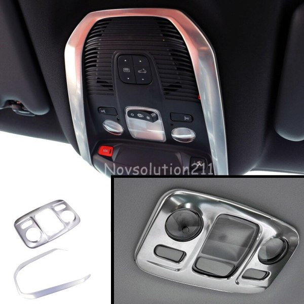 2pcs Car Interiors Front+Rear Roof Reading Lamp Frame Light Cover Trim Car Stickers Decoration For Peugeot 3008 GT 2016 2017