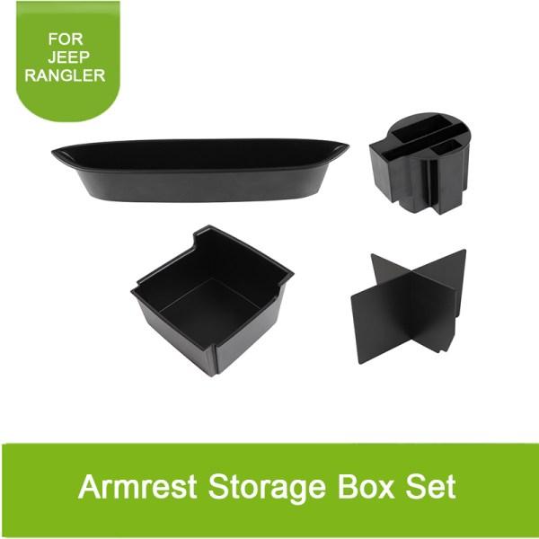 5pcs For Jeep Wrangler JK 2011-2017 Armrest Storage Box Set Holder Container Center Car Interior Accessories Organizer