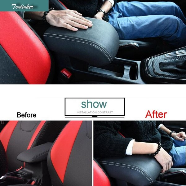Tonlinker 1 PCS DIY Car styling PU Leather Heighten Memory cotton central armrest box cover case stickers for Ford Focus 2015