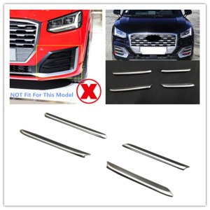 Exterior Accessories Car Fog Light Lamp Cover Trim Strip Stickers ABS Matte For Audi Q2 2017 2018 Car Styling