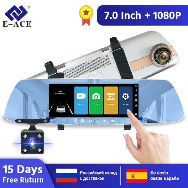 E-ACE Car Dvr 7.0 Inch Rearview Mirror FHD 1080P DashCam Dual Lens Video Recorder Night Vision Auto Registrator Dash Cam