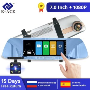 E-ACE Car Dvr 7.0 Inch Rearview Mirror FHD 1080P DashCam Dual Lens Video Recorder Night Vision Auto Registrator Dash Cam