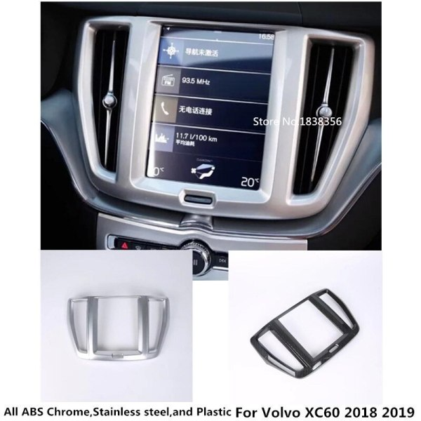 For Volvo XC60 2018 2019 car enter console GPS Navigation panel decoration cover Chromium styling interior moulding trim frame