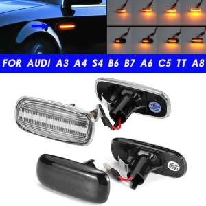 Pair LED Dynamic Side Marker Turn Signal Light Sequential Blinker Lamps For Audi A3 8P A4 S4 RS4 B6 B7 B8 A6 S6 RS6 C5 C7
