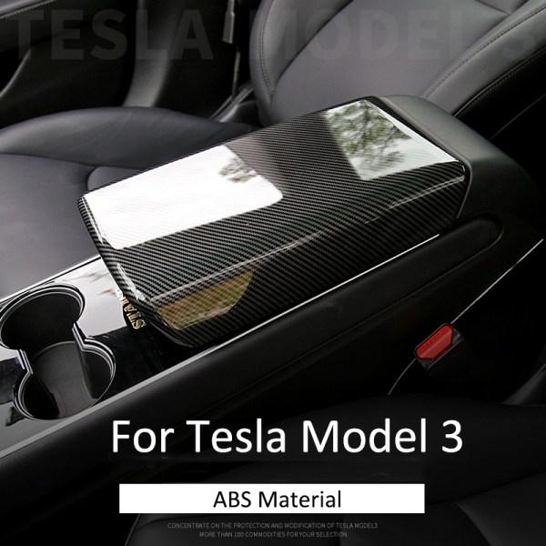 Center Car Armrest Box Cover Decoration Protector Car Accessories For Tesla Model 3