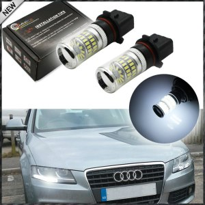 2pcs Error Free White P13W LED Bulbs w/ Reflector Mirror Design For 2008-12 Audi B8 model A4 or S4 with halogen headlight trims