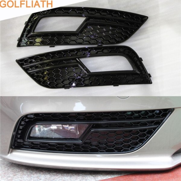 GOLFLIATH RS4 Style Front Bumper Fog lamp Grille Glossy Black Fog Light Cover Grills For Audi A4 B8 2013-2015 Standard Bumper