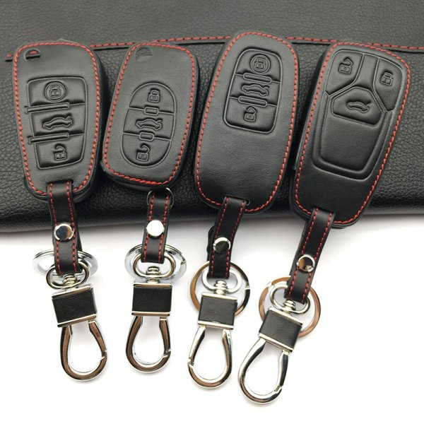 Hot sale super quality 100% Leather Key Cover Case for Audi Q3 Q5 Sline A3 A5 A6 C5 A4 B6 B7 B8 TT 80 S6 C6 Auto Accessories
