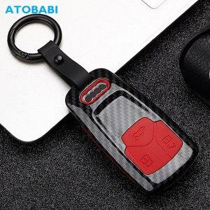 Carbon ABS Car Key Case For Audi A1 A3 A4 B8 A5 A6 A7 A8 Q5 Q7 TT TTS Smart Remote Fob Protector Cover Keychain Bag Accessories