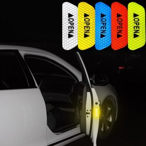 4Pcs Car sticker Reflective Tape Warning Mark Accessories Exterior For Audi A3 A4 A5 A6 A7 A8 B6 B7 B8 C5 C6 TT Q3 Q5 Q7 S3 S4