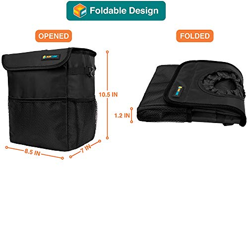 SUN CUBE Car Trash Can with Lid and Removable Leakproof Lining Solar Dice Car Trash Bag with Lid and Leakproof Lining