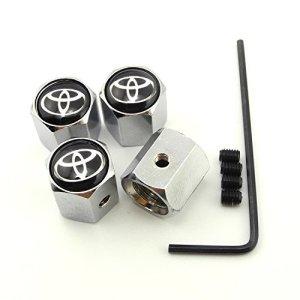 iDoood Anti-Theft Chrome Car Wheel Tire Valve Stem Caps for Toyota