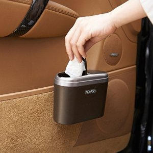 Accmor Car Trash Can, 0.8L Mini Auto Car Vehicle Garbage Dust with Double Cover, Trash Rubbish Can(Silver)