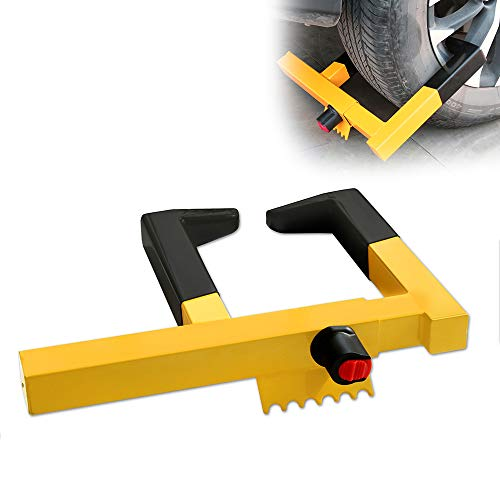 """Wheel Clamp Lock Universal Security Tire Lock Anti Theft Lock Fit Most Vehicles, Max 15.5"""" Tire Width And 8.5"""" Reach, For Trailers Suv Boats Atv'S Motorcycles Golf Cart Great Deterrent Yellow/Black"""