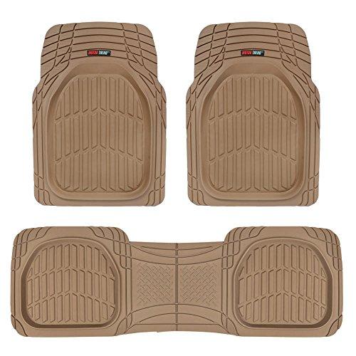 Motor Trend MT-923-BG Tan Beige FlexTough Contour Liners-Deep Dish Heavy Duty Rubber Floor Mats for Car SUV Truck & Van-All Weather Protection