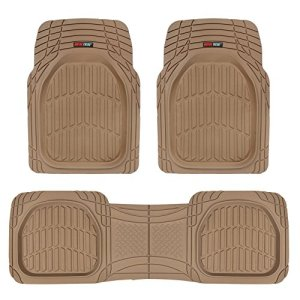 Motor Trend MT-923-BG Tan Beige FlexTough Contour Liners-Deep Dish Heavy Duty Rubber Floor Mats for Car SUV Truck & Van-All Weather Protection