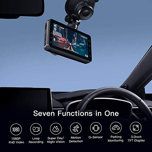 "APEMAN Dash Cam FHD 1080P Car Camera with 3"" LCD Screen, 170° Wide Angel, G-Sensor, WDR, Loop Recording, Motion Detection, Night Vision"