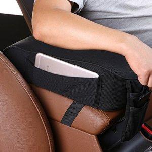 MLOVESIE Auto Center Console Armrest Pillow, Memory Foam Car Armrest Cushion with Phone Holder Storage Bag Universal Fit for Most Car (Black)