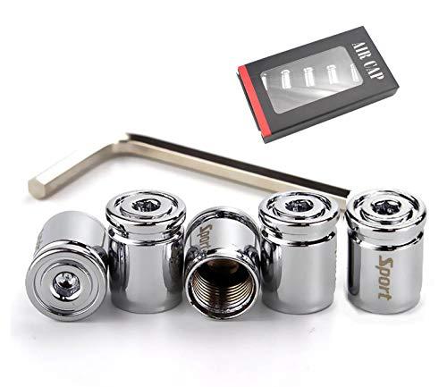 Xuxu521 Car Tire Valve Stem Caps(5pcs) Anti-Theft (Silver)