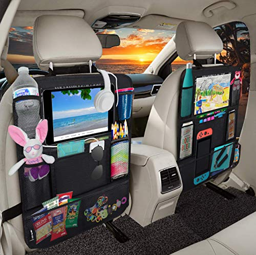 Leef Island Backseat Car Organizer Kick Mats, Car Seat Protector with Clear Tablet Holder and 2 Cable Slots, Back Seat Organizer for All Ages (2 Pack) Black