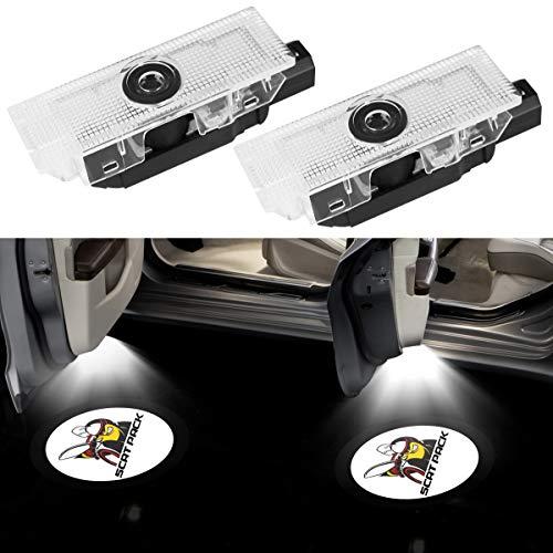 Car Logo Door Ghost Badge Shadow Light LED Projector Welcome Courtesy Light For Dodge Challenger Scat Pack RT SRT SXT GT SE Logo(Dodge Challenger N01)