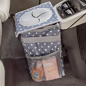 High Road StashAway Console Car Trash Can with Lid (Polka Dot)